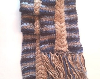Small Claw Cables Scarf, Blue Brown Knit Neck Warmer, Women's Long Scarf with String
