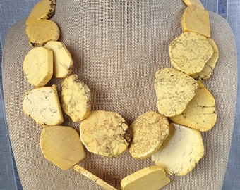 Yellow turquoise necklace double strands stone bib statement necklace
