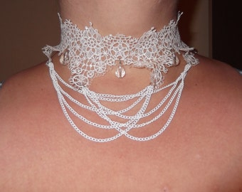 Off White lace necklace