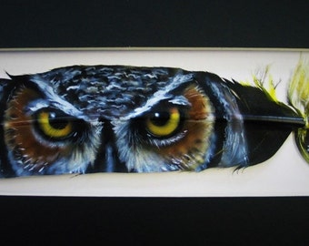 Great Horned Owl Eyes - Russ Abbott - Original Hand Painted Feather