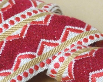 Antique 1960s woven French jacquard ribbon trim in shades of pink & mustard chevron motif for vintage lovers, craft couture