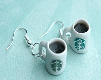 starbucks coffee dangle earrings- miniature food earrings, coffee cup earrings, food jewelry