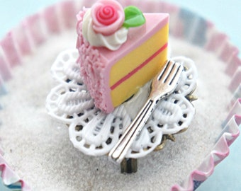 strawberry cake ring- birthday cake ring, miniature food jewelry , cake jewelry