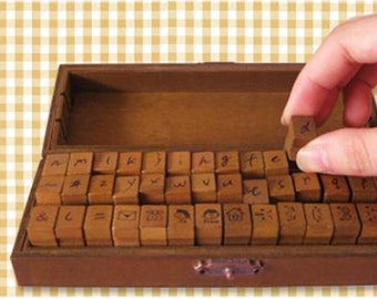 Vintage Alphabet Stamp Set -- Handwriting stamps--Wooden Rubber Stamps -- Rubber Stamps -- Lowercase -- 42 pcs