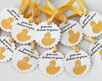 Baby Shower Tags - Favor Tags - 12 Thank You Tags - Baby Shower Thank You Tags - Yellow Duck Tags - Baby Shower - Gift Tags