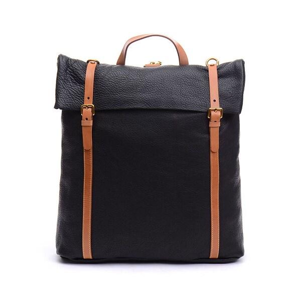 15unisex Genuine Leather Flap Backpack Black Simple Tote