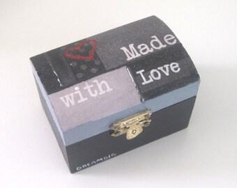 Made with love, mini box, romantic mini box, ring box, mini jewelry  box, wooden box, black and white.