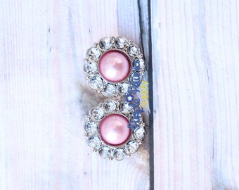 2 pcs 20mm pearl and rhinestone button, vintage button, acrylic rhinestone button, pearl rhinestone button