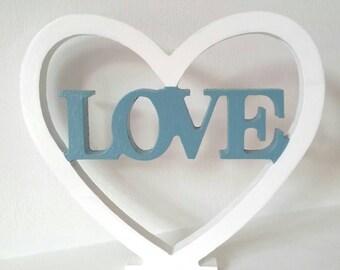 Freestanding 'love' heart - duck egg and white