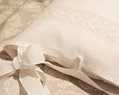 "Linen bedding - Natural Linen Pillowcase ""Long fastening ties""  ruffles pillow case. Pure linen bedding, 7 sizes available, white or gray."