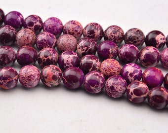 "15.5""10mm  Purple Sea Sediment Jasper  Round Beads Gemstone beads"
