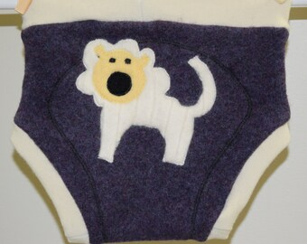 Large Upcycled Wool Diaper Soaker / Lovey Lion /  Purple / Baby Gift Girl Boy / Nappy Cover / Felted lambswool Diaper Cover / Interlock