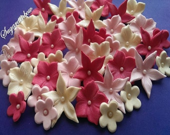 Edible sugar flowers blossoms decorations for cake cupcake toppers