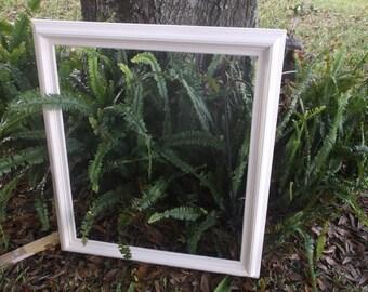 Large White Chalk Paint Oak Frame...32X29..Heavy...Shabby Chic Wedding