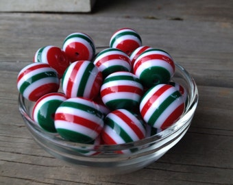 10ct Red,Green and White Stripe Christmas 20mm Acrylic beads, Bead Supply, Christmas beads, Christmas Chunky Necklace and Bubblegum necklace