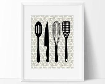 Kitchen Cooking Utensils Art Print - Wall Art - Kitchen Decor - Minimalist Art Print