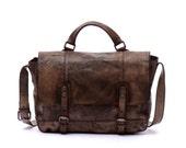 """15""""Men Coffee vintage simple Messenger Bag genuine leather crossbody bag,laptop bag,school bag,shoulder bag,leather tote bag,Briefcase"""
