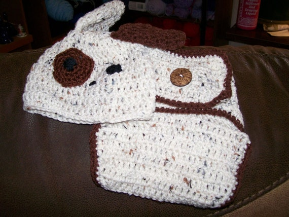 Crochet Dog Hat And Diaper Cover Pattern : Handmade crocheted infant puppy dog diaper cover / puppy hat