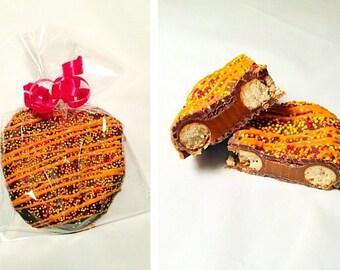 Caramel Dipped Belgian Chocolate Pretzels