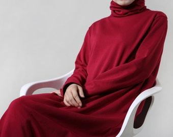 Turtle neck Knitting Maxi dress long fleece cotton dress plus size dress in burgundy BonLife