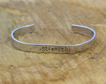Hand Stamped Cuff Bracelet 'Strength' | Strength Cuff Bracelet | Hand Stamped Bracelet
