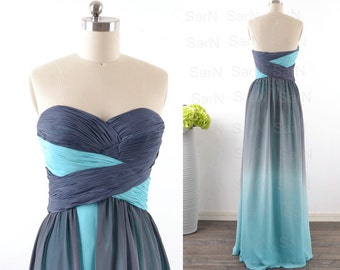 Vintage Prom Dresses Long Strapless Two Colors Prom Gown