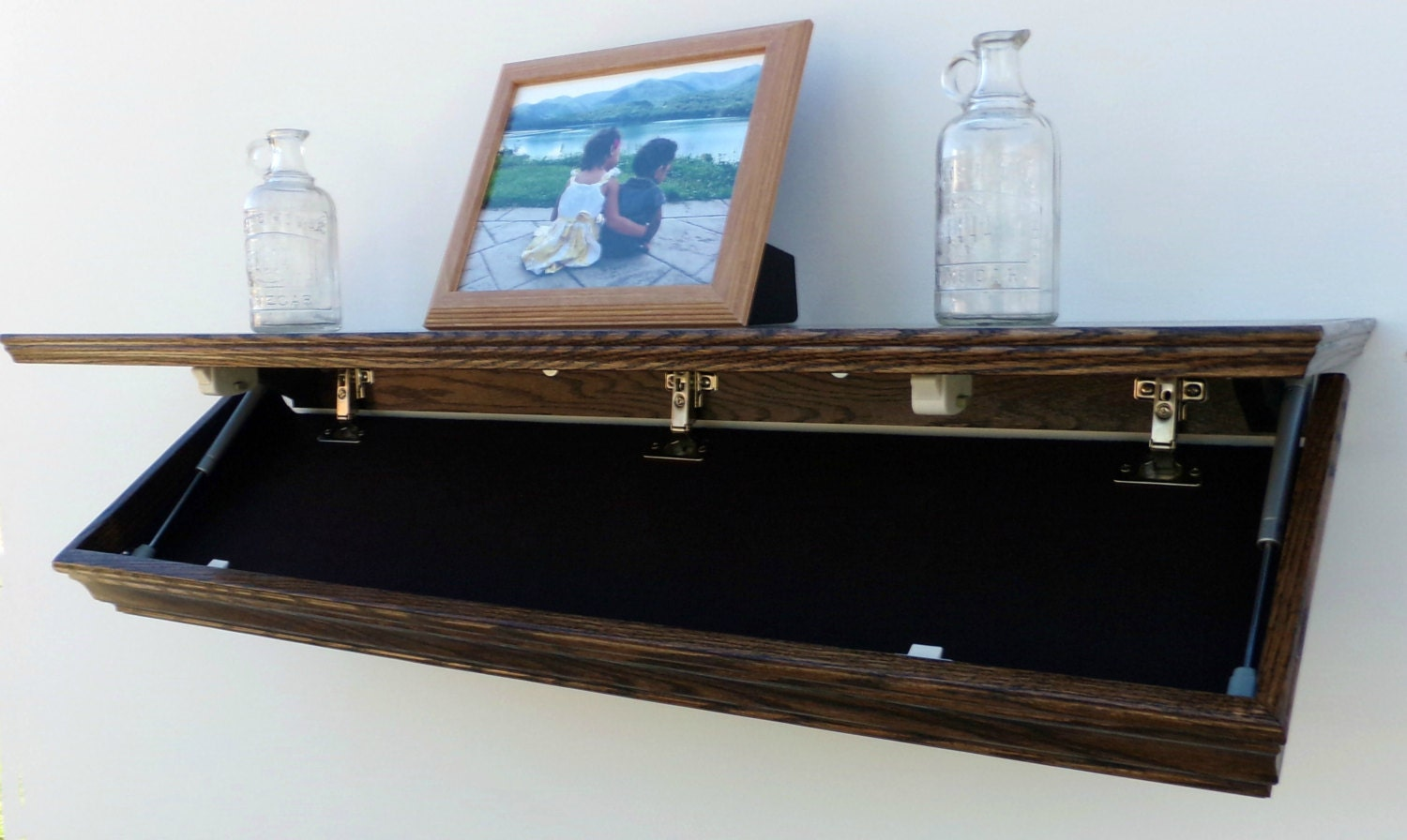 42 Oak Wall Shelf With Drop Down Hidden Secret