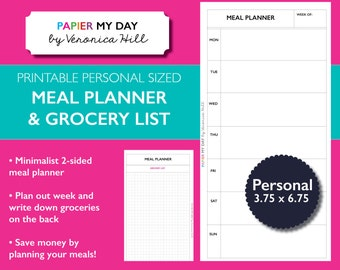 Filofax Meal Planner and Grocery List - Printable Meal Planner - Fits Filofax Personal, Kikki K Medium