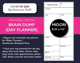 Midori Traveler's Notebook Day Planner - Midori TN Inserts - MTN Brain Dump
