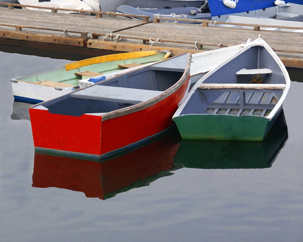 Row Boats In Harbor Fine Art Photography Wall Photo Print