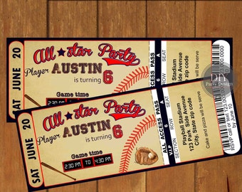 Baseball Ticket Birthday Invitation * Digital Party Invitation * You Print