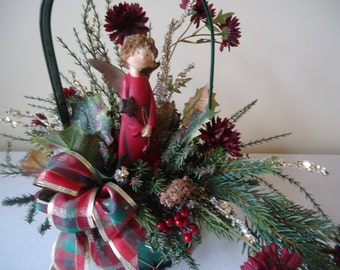Christmas Angel Holly  Evergreen Glitter Drum Centerpiece Holiday Floral Arrangement #99