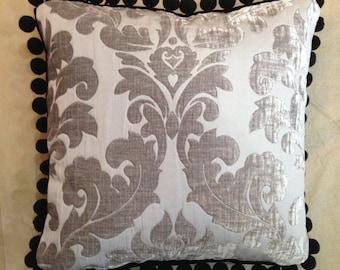 Grey Embossed Velvet Cushion