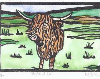 Highland Cow Lino Print Coloured