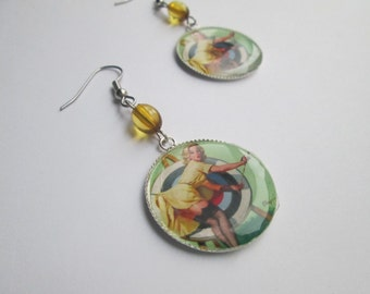 Pin Up Girl /  Cameo style Earrings /Item G541