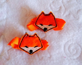 Fox barrette, stitchie, felt, hair clip