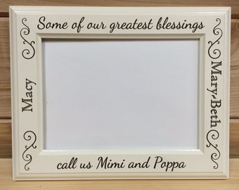 Grandparent Picture Frame, 4x6 & 5x7, Laser Engraved, Personalized