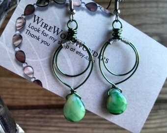 Green wire wrapped dangle earrings