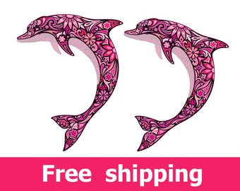 abstract dolphin wall decal, colorful dolphin wall sticker, pink dolphin decal nursery poster dolphin print gift dolphins wall decor [FL065]