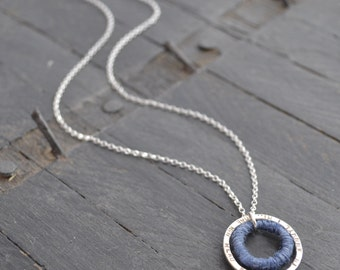 Personalised Silver & Wool Circle Necklace