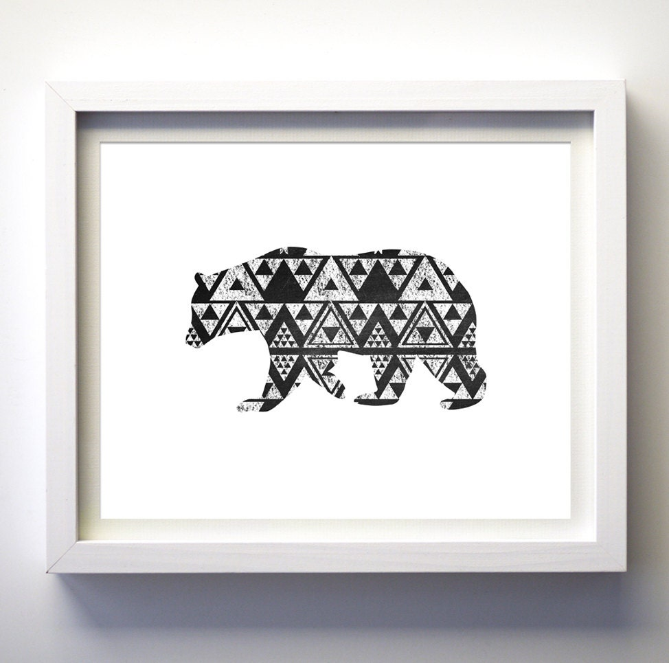 Bear Wall Art geometric bear art bear wall print black and white bear