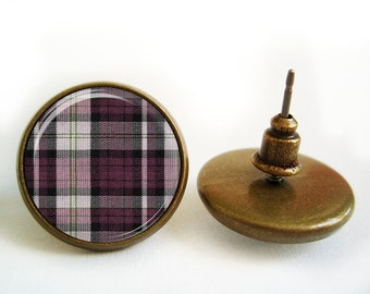 Purple Checked Earrings (Antique.bronze./.Silver.tone)