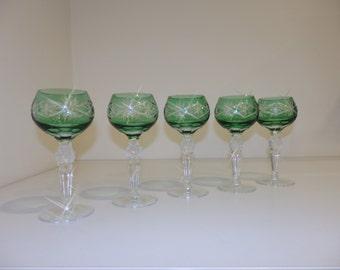 SALE - 50% OFF - Vintage Crystal Glass - Green Crystal Glasses - set - colour glasses