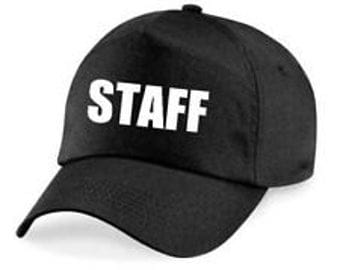Personalized Custom Printed STAFF  Hat/ Cap In Black with white writing,great for events,shops<bars etc