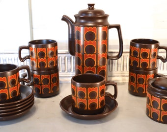 1960s retro coffee set in brown, orange and red was 45.00 now 29.99