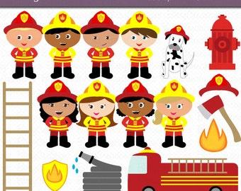 firefighter kids digital art set clipart commercial use clip art ...