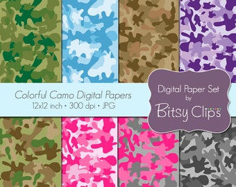 Colorful Camo Papers Digital Paper Set Scrapbook Paper INSTANT DOWNLOAD Camouflage Paper