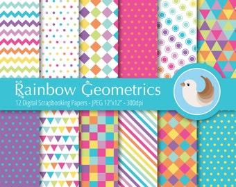 Rainbow Digital Paper - Rainbow Geometrics - Bright Digital Paper - Set of 12 Digital Scrapbooking Papers