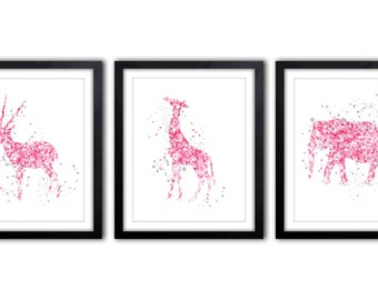 Elephant and Giraffe Nursery Art - Pink and Gray Nursery Decor - Girl's Room Artwork - Baby Girl Nursery - Watercolor Nursery Art - AS41