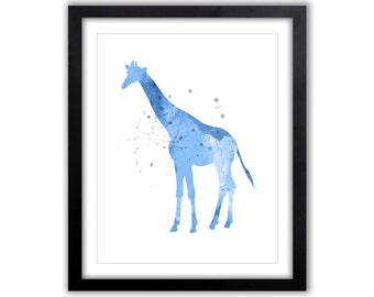 Giraffe Wall Art - Baptism Gift - Baby Shower - Gift For New Baby - Giraffe Decor For The Home - Watercolor Art Print - GI026